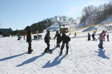Skiing at wild mountain